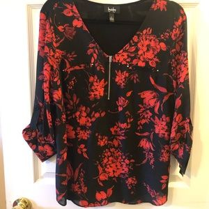 By & By Red/Black Top - Size L - New with Tags!
